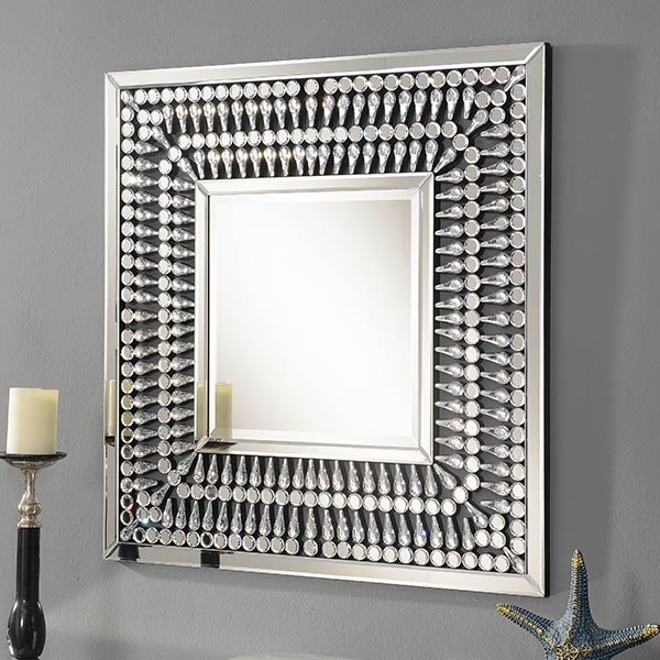 Crystal Mirrored Square Mirror